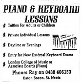 Advert for Piano & Keyboard lessons in Eaton Socon - in 'Eatons Community Association Newsletter (ESCAN) Nov 1994