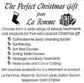 Advert for 'La Femme' at Eaton Socon Rivermill - in 'Eatons Community Association Newsletter (ESCAN) Nov 1994