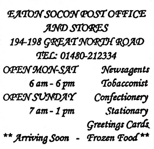 Advert for Eaton Socon Post Office - in 'Eatons Community Association Newsletter (ESCAN) Nov 1994