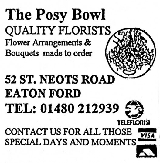 Advert for 'The Posy Bowl' in Eaton Ford - in 'Eatons Community Association Newsletter (ESCAN) Nov 1994