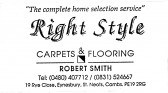 Advert for 'Right Style' Carpets and Flooring in Eynesbury - in 'Eatons Community Association Newsletter (ESCAN) Nov 1994