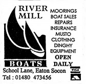 Advert for River Mill Boats in Eaton Socon - in 'Eatons Community Association Newsletter (ESCAN) Nov 1994