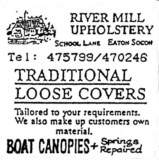 Advert for River Mill Upholstery at Eaton Socon - in 'Eatons Community Association Newsletter (ESCAN) Nov 1994