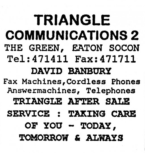 Advert for Triangle Communications 2 Shop in Eaton Socon - in 'Eatons Community Association Newsletter (ESCAN) Nov 1994