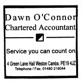 Advert for  Dawn O'Connor, Chartered Accountant in Hail Weston, - in 'Eatons Community Association Newsletter (ESCAN) May 1995