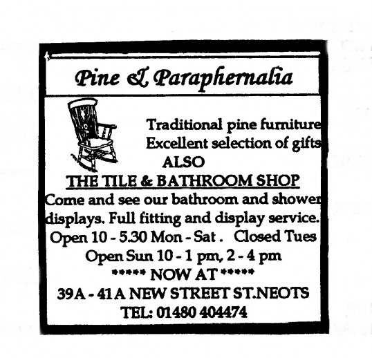 Advert for Pine and Paraphernalia Shop in New Street, St Neots - in 'Eatons Community Association Newsletter (ESCAN) May 1995