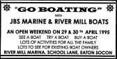 Advert for boating at Eaton Socon River Mill - in 'Eatons Community Association Newsletter (ESCAN) May 1995