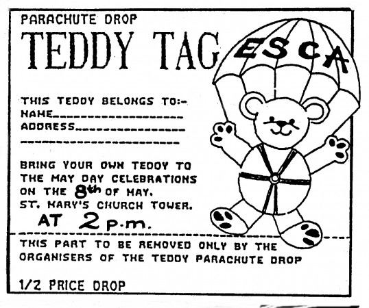 Teddy Tag for the Annual May Day Celebrations on Eaton Socon Village Green - in 'Eatons Community Association Newsletter (ESCAN) May 1995