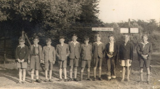 Boys outside Flint Pit Paddock in Eynesbury in the late 1940s