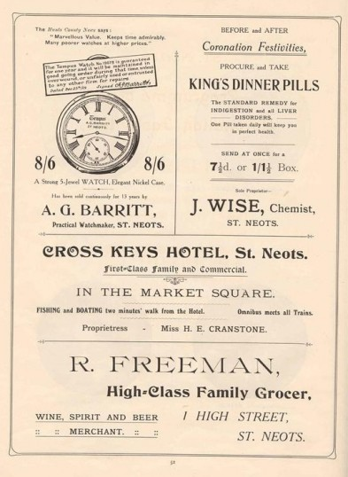 Adverts in the 1911 Coronation Souvenir programme for A G Barritt, J Wise, Cross Keys Hotel and R Freeman in St Neots