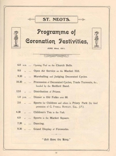 1911 Coronation Souvenir Programme page 53 Programme of Coronation Festivities for St Neots