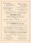 1911 Coronation Souvenir programme Page 50 Adverts for H Clarabut, Moore & Son, Barrett's, J T Thirtle & Co and Mrs A H Bond of New Inn Hotel