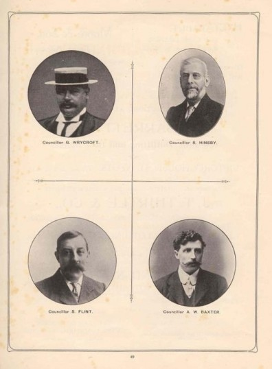 1911 Coronation Souvenir programme - portraits of Councillors Wrycroft, Hinsby, Flint and Baxter