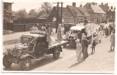 George V Silver Jubilee Celebrations in 1935 - decorated vehicles in Eaton Socon going to St Neots Market Square for judging