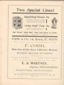 1911 Coronation Souvenir programme - adverts for Paine & Co Brewery, and F. Cobb, grocers in St Neots