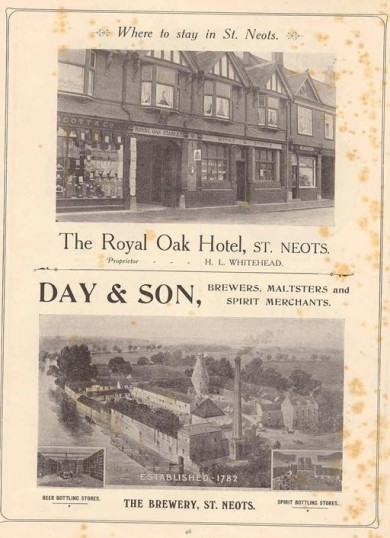 1911 Coronation Souvenir programme - advert for Royal Oak Hotel and Day & Son Brewery in St Neots