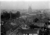 Eynesbury - a view from the church tower in 1896, looking north towards St Neots Church showing many houses