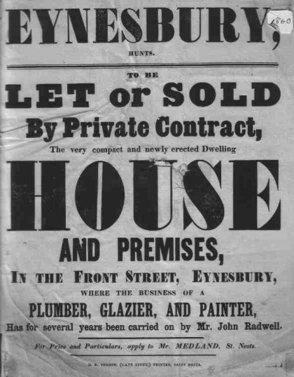 Sale/letting notice for house in 'Front Street' (now St Marys Street), in Eynesbury, dated around 1860