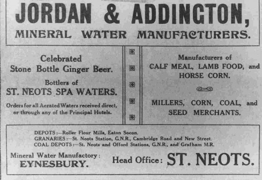 Advert for Jordan & Addington's Mineral Water manufactured in Eynesbury, dated 1911