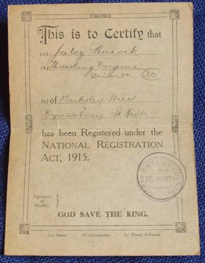 Identity card for Jabez Peacock, Thrashing Engine Driver in Eynesbury, around 1916