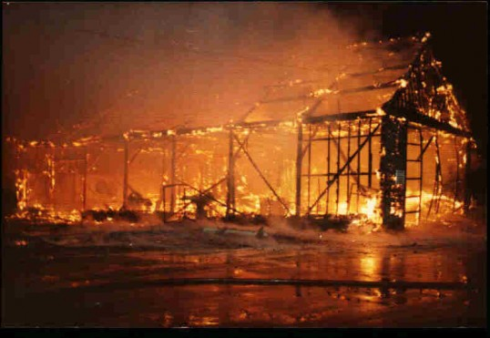 Fire at Tebbutts Timber Yard in Eynesbury, in 1983