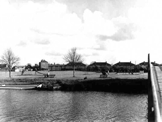 View of the Coneygeare in Eynesbury across the River Great Ouse from the Riverside Park, in 1977