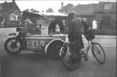 Ernie Hedge, about 1950, a well known character and seller of ice creams and rabbits.