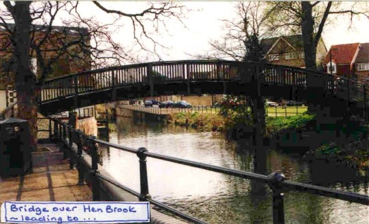 Bridge over Henbrook leading to Navigation Wharf in Eynesbury in the 1990s