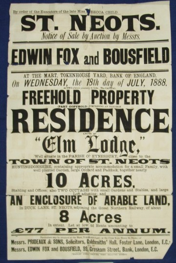 Sale notice of Elm Lodge in Potton Rd, 2 cottages & 18 acres of land in Eynesbury in 1888