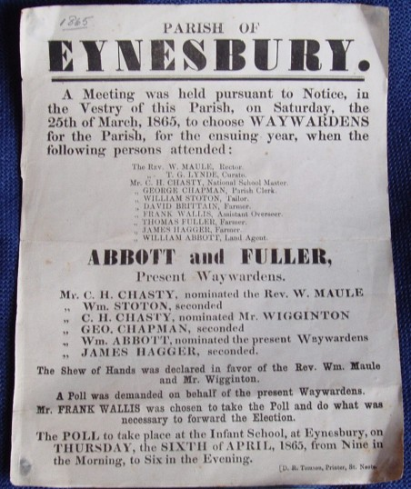 Poster notifying a poll for the election of Waywardens for Eynesbury, dated March 1865