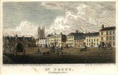 Hand coloured print of St Neots Market Square in 1824