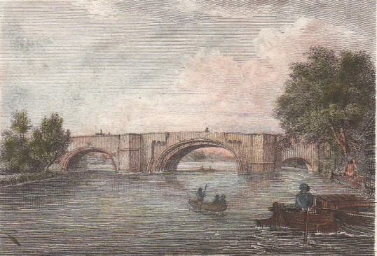 Small hand coloured print of St Neots Bridge for 'Antiquarian Itinerary', early 19th century,