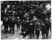 1911 Coronation Day Parade through St Neots led by George William Evernden, a Crimean veteran