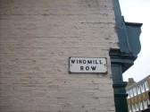 A sign for Windmill Row just off the south side of St Neots High Street in October 2008