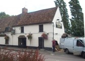 Waggon and Horses in Eaton Socon in August 2008 - looking at the damage after the building was hit by a  car