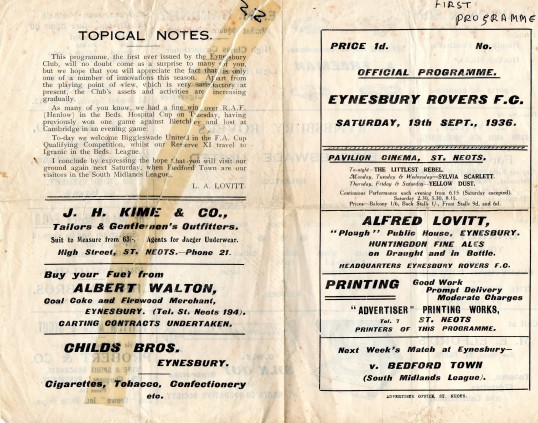 First Programme of Eynesbury Rovers Football Club in 1936