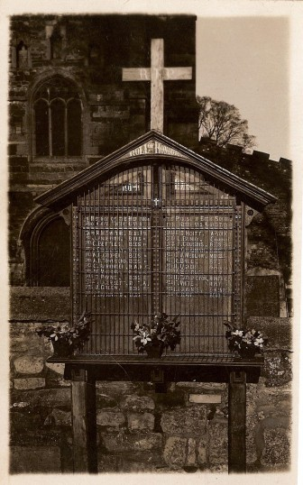 Eaton Socon War Shrine - a large oak board to commemorate those who died in WW1