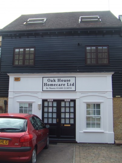 'Oak House Homecare Ltd' – offices in Fishers Yard, St Neots Market Square in July 2010