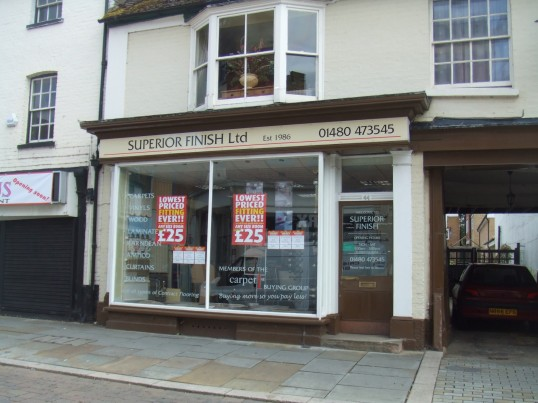 'Superior Finish Ltd' shop on the south side of St Neots Market Square, in July 2010