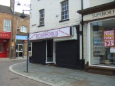 Bosphorus Turkish Restaurant claims to be opening soon, in former Audio Vision shop, in St Neots Market Square in July 2010