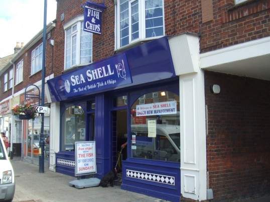Sea Shell Fish and Chip shop in St Neots High Street, in July 2010