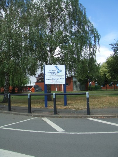 The sign for St Neots Community College, in July 2010, formerly Ernulf School, in Barford Rd, Eynesbury