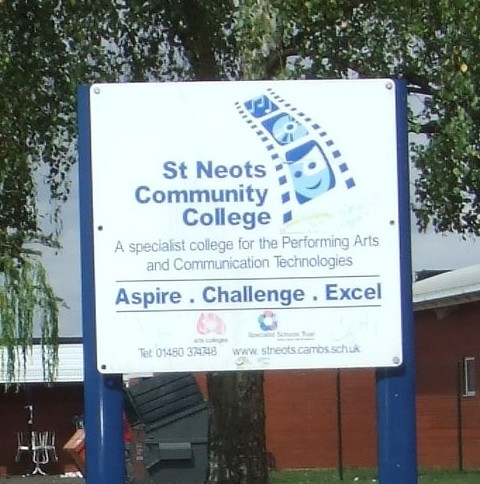 The sign for St Neots Community College, in July 2010, formerly Ernulf School in Barford Rd, Eynesbury