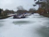 Eaton Socon Rivermill marina with the River Great Ouse frozen in Jan 2010