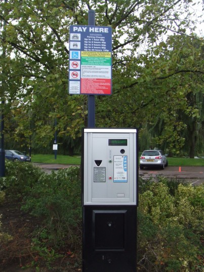 First Pay and Display machine installed and working at The Riverside Car Park, St Neots in October 2010