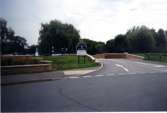 View of new entrance into Riverside Car Park after flood defences were completed, in September 2010
