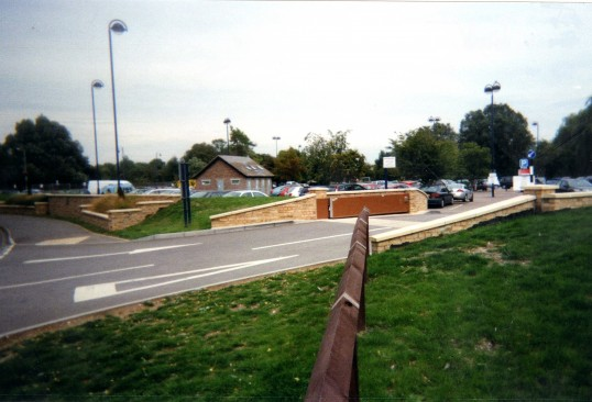 View of the flood defence gate at the entrance to the Riverside Car Park, in September 2010