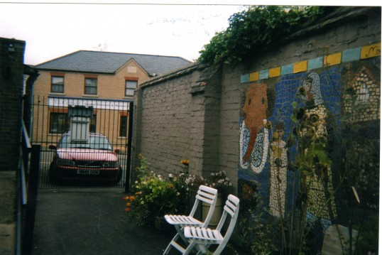 Yard at St Neots Museum in September 2010 showing part of the Millennium Mosaic