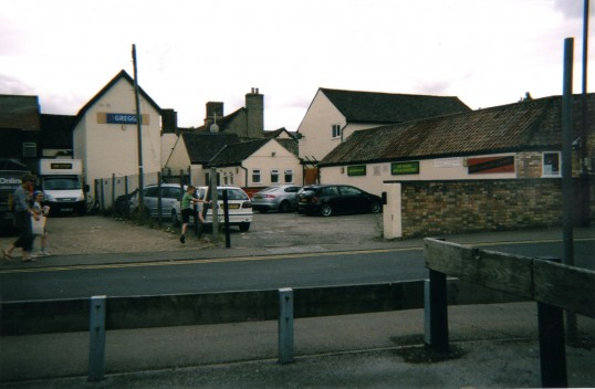 Rear of Market Square shops from Waitrose Car Park in St Neots in August 2010