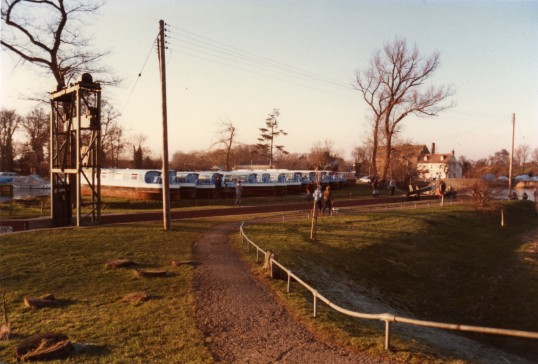 Narrow Boats on the bank for the winter, near Eaton Socon Lock (single width lock) on the River Great Ouse in Feb 1986